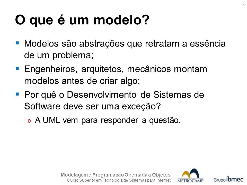 O que é um modelo Modelos são abstrações que retratam a essência de um problema;
