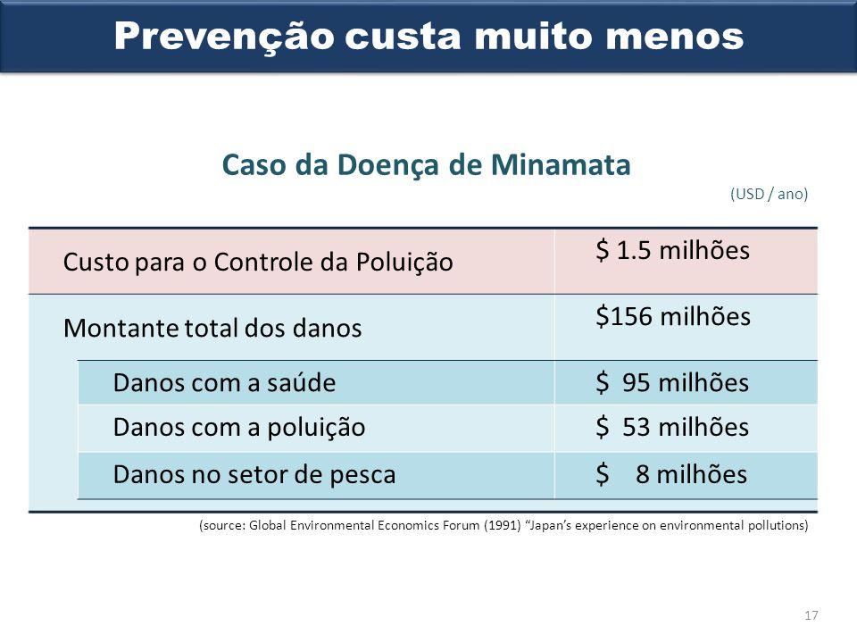 Prevenção custa muito menos Caso da Doença de Minamata