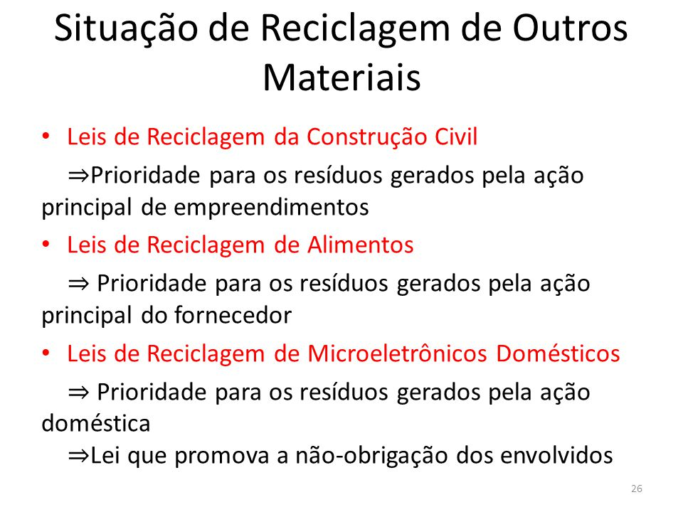 Situação de Reciclagem de Outros Materiais