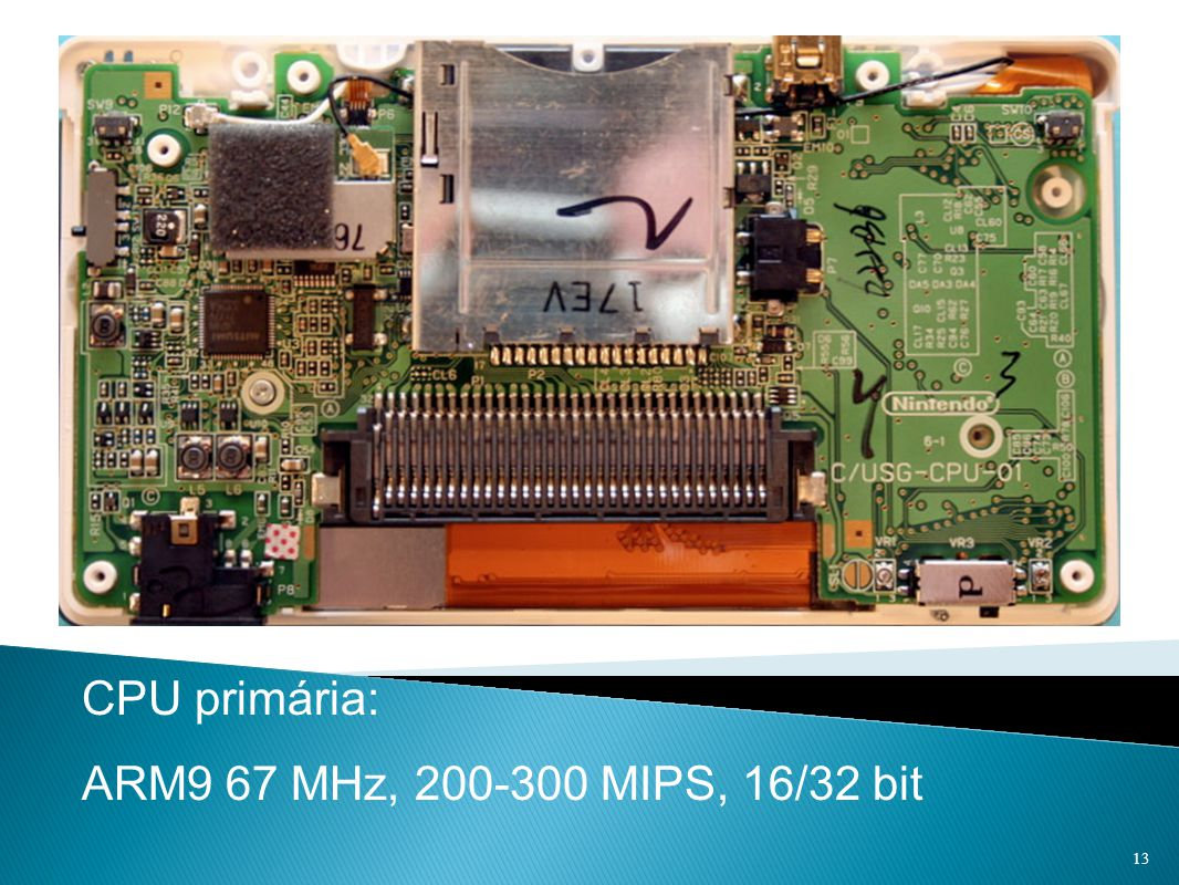 CPU primária: ARM9 67 MHz, 200-300 MIPS, 16/32 bit