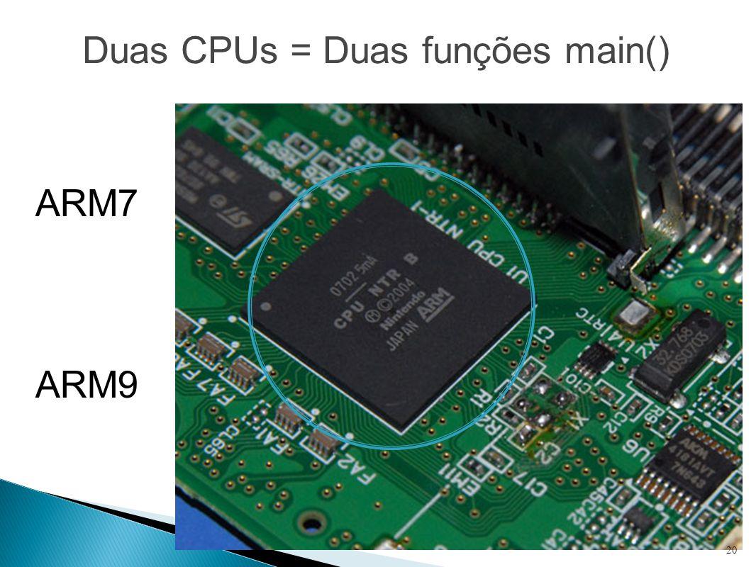 Duas CPUs = Duas funções main()