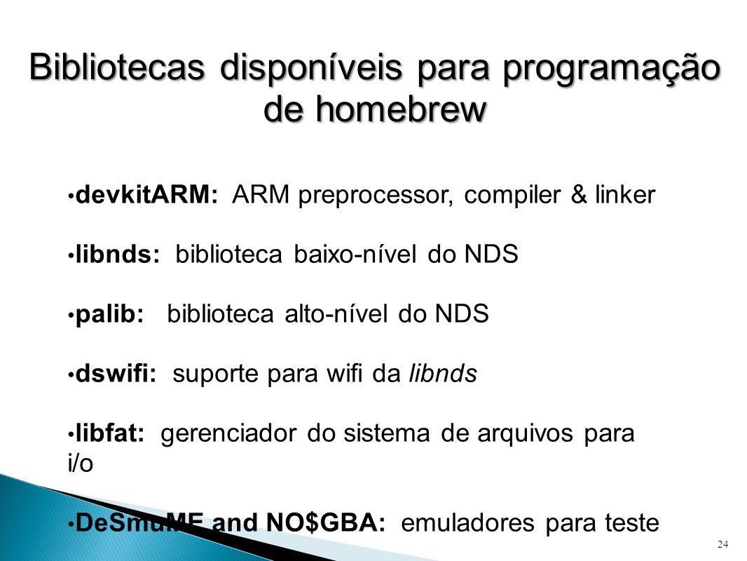 Bibliotecas disponíveis para programação de homebrew