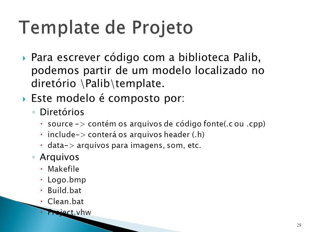 Template de Projeto Para escrever código com a biblioteca Palib, podemos partir de um modelo localizado no diretório \Palib\template.