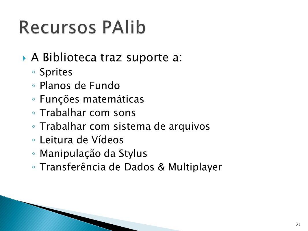 Recursos PAlib A Biblioteca traz suporte a: Sprites Planos de Fundo
