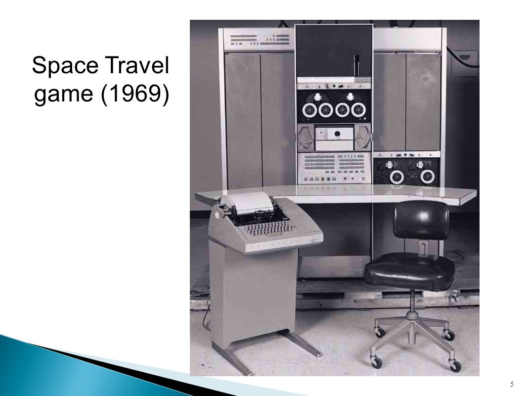 Space Travel game (1969) Digital Equipment Company PDP-7 computer, Bell Labs. Dennis Richie and Ken Thompson.