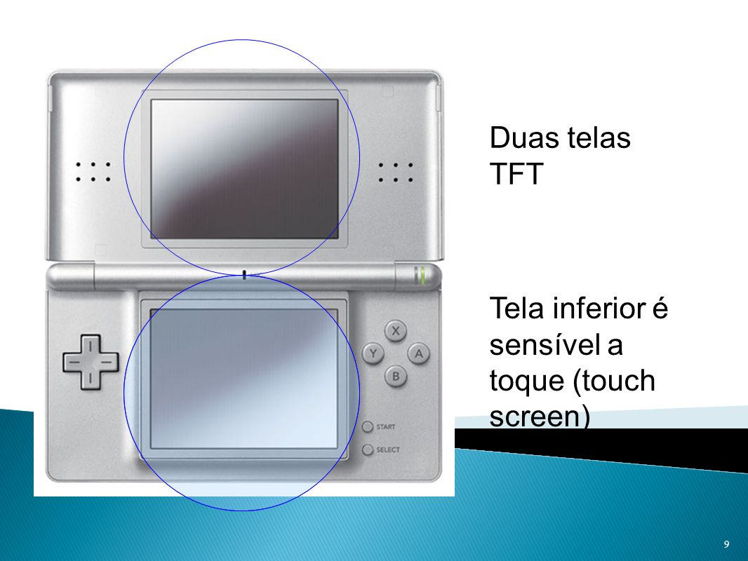 Tela inferior é sensível a toque (touch screen)