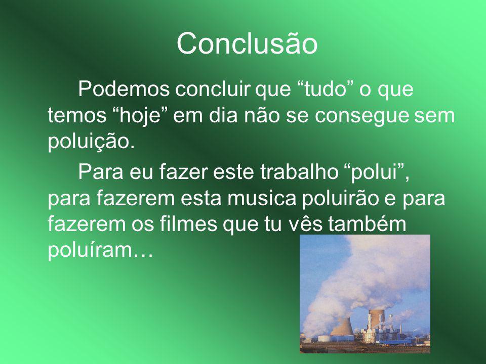 Conclusão Podemos concluir que tudo o que temos hoje em dia não se consegue sem poluição.