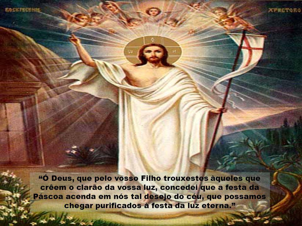 Ó Deus, que pelo vosso Filho trouxestes àqueles que crêem o clarão da vossa luz, concedei que a festa da Páscoa acenda em nós tal desejo do céu, que possamos chegar purificados à festa da luz eterna.