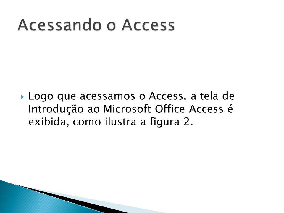 Acessando o Access Logo que acessamos o Access, a tela de Introdução ao Microsoft Office Access é exibida, como ilustra a figura 2.
