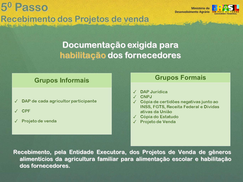50 Passo Recebimento dos Projetos de venda Documentação exigida para