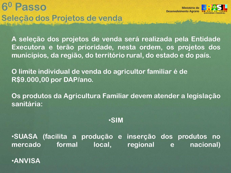 60 Passo Seleção dos Projetos de venda