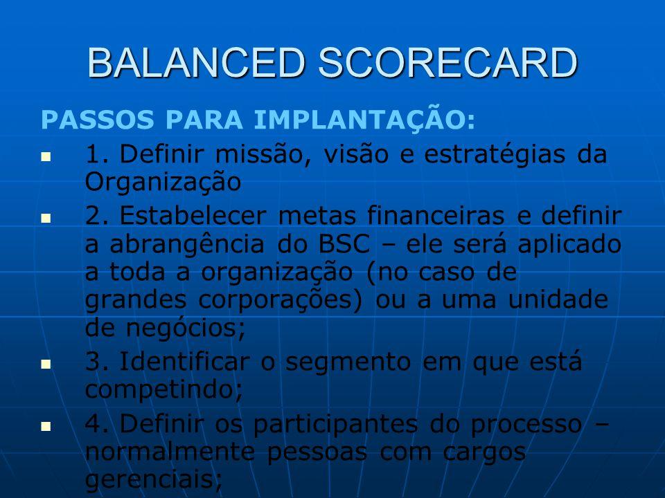 BALANCED SCORECARD PASSOS PARA IMPLANTAÇÃO: