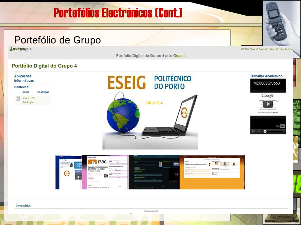Portefólios Electrónicos (Cont.)