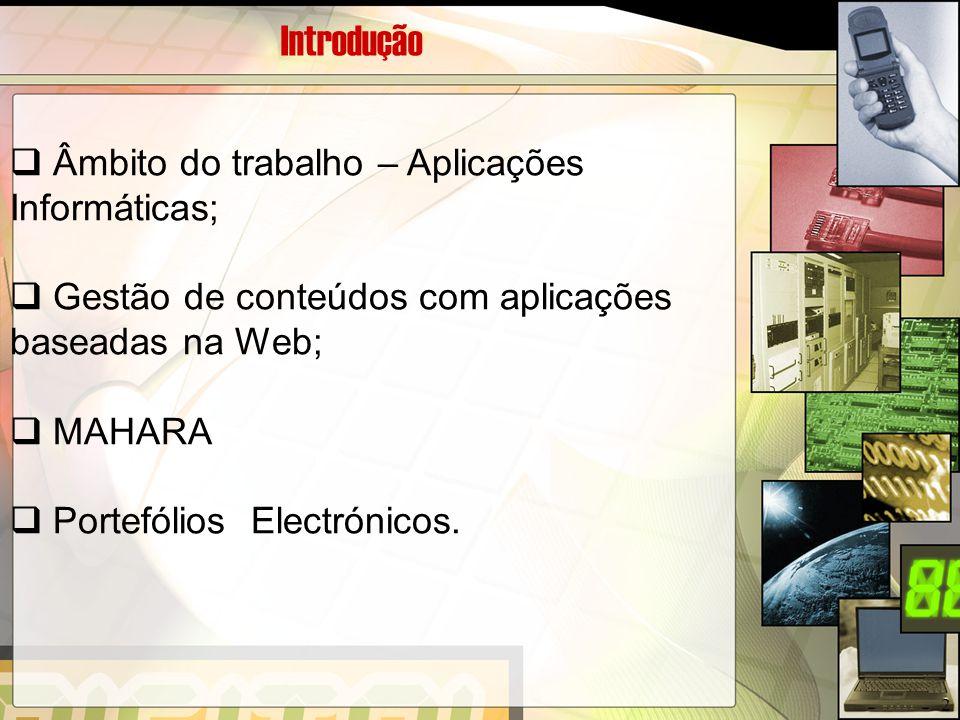 Introdução Âmbito do trabalho – Aplicações Informáticas;