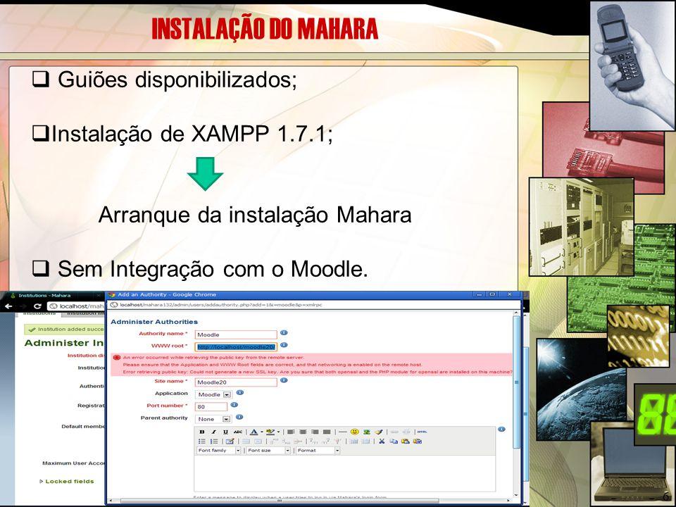 INSTALAÇÃO DO MAHARA Guiões disponibilizados;
