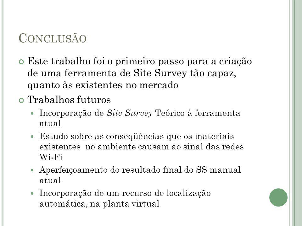 Conclusão Este trabalho foi o primeiro passo para a criação de uma ferramenta de Site Survey tão capaz, quanto às existentes no mercado.