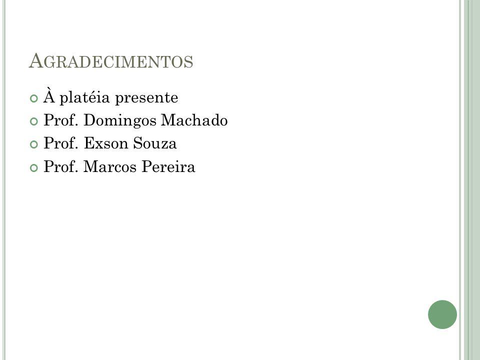 Agradecimentos À platéia presente Prof. Domingos Machado