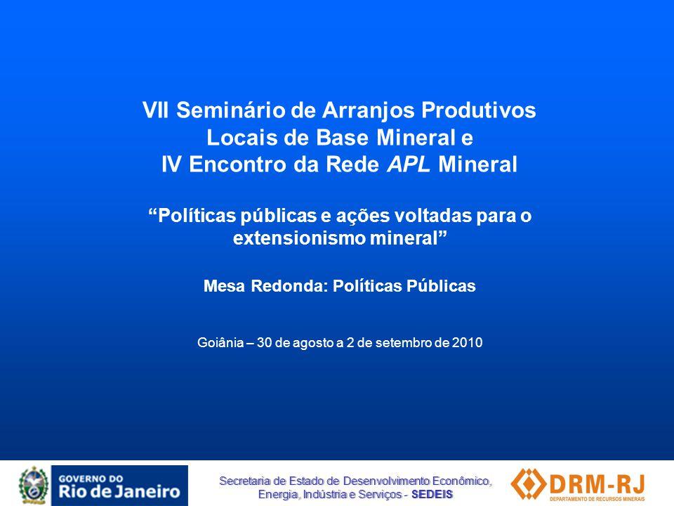 VII Seminário de Arranjos Produtivos Locais de Base Mineral e