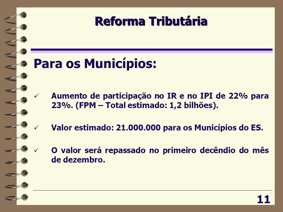 Para os Municípios: Reforma Tributária 11