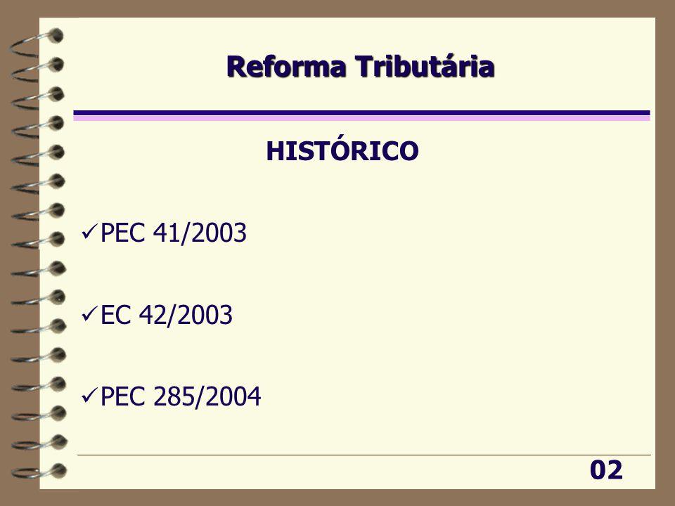 Reforma Tributária HISTÓRICO PEC 41/2003 EC 42/2003 PEC 285/2004 02