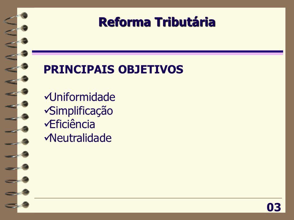 Reforma Tributária PRINCIPAIS OBJETIVOS Uniformidade Simplificação