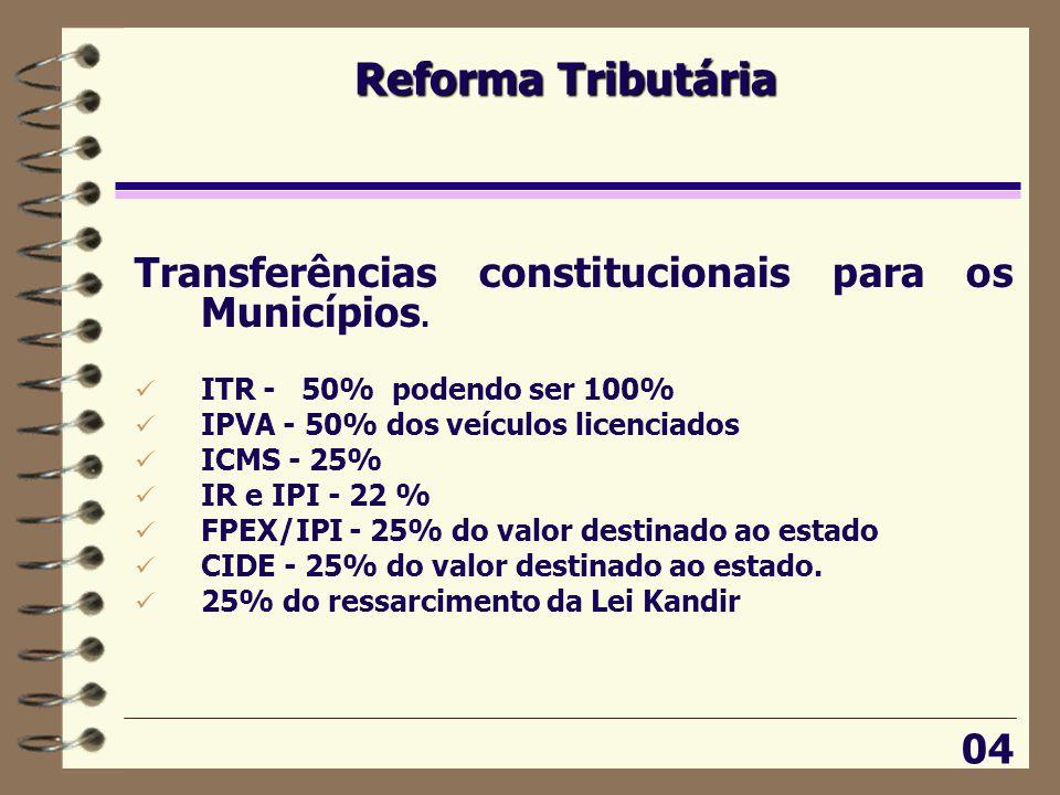 Reforma Tributária Transferências constitucionais para os Municípios.
