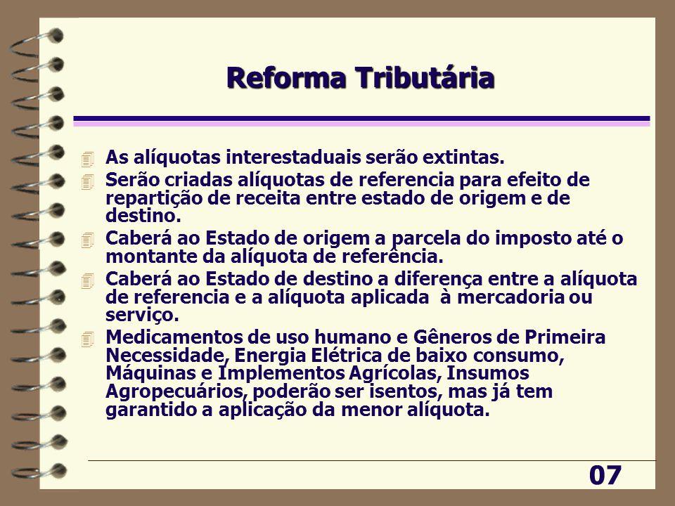Reforma Tributária 07 As alíquotas interestaduais serão extintas.