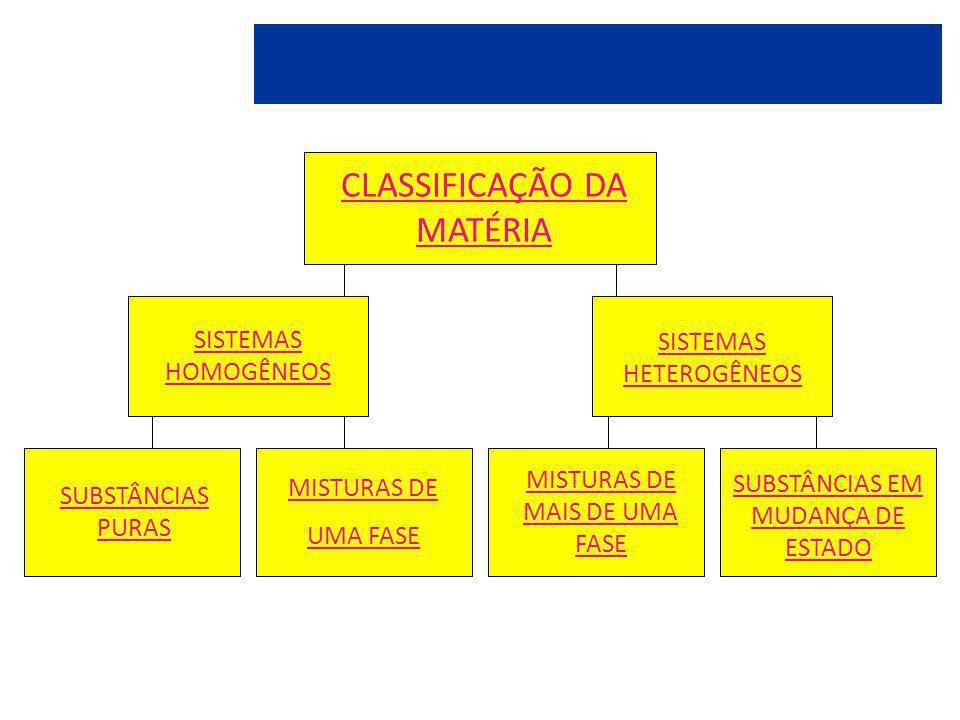CLASSIFICAÇÃO DA MATÉRIA