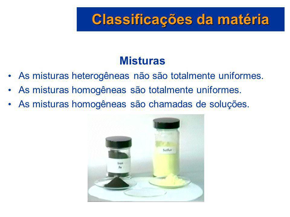 Classificações da matéria