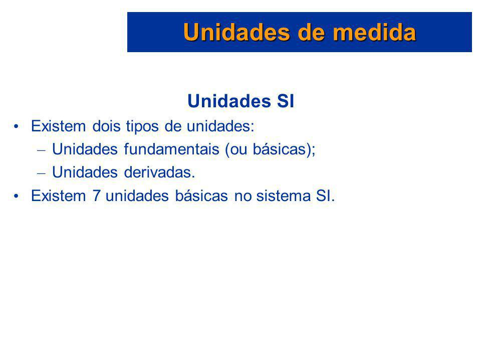 Unidades de medida Unidades SI Existem dois tipos de unidades: