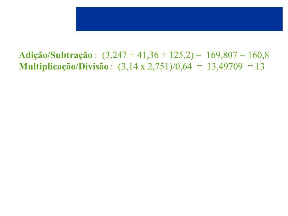 Adição/Subtração : (3,247 + 41,36 + 125,2) = 169,807 = 160,8