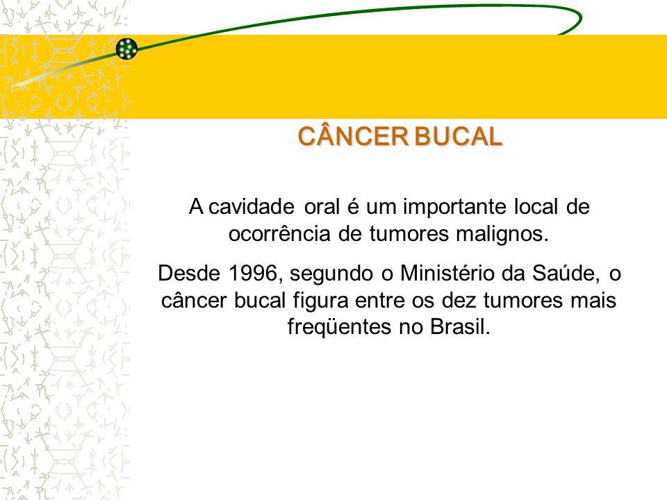 CÂNCER BUCAL A cavidade oral é um importante local de ocorrência de tumores malignos.