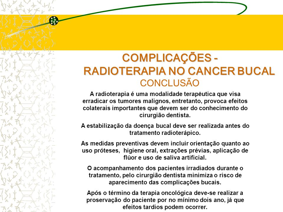 RADIOTERAPIA NO CANCER BUCAL