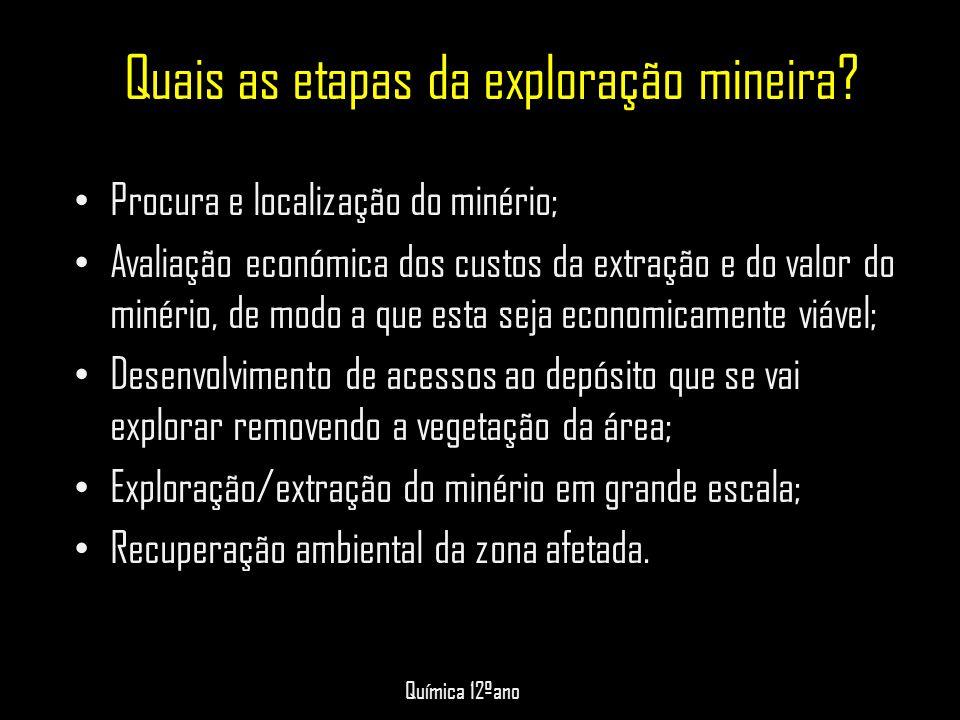 Quais as etapas da exploração mineira
