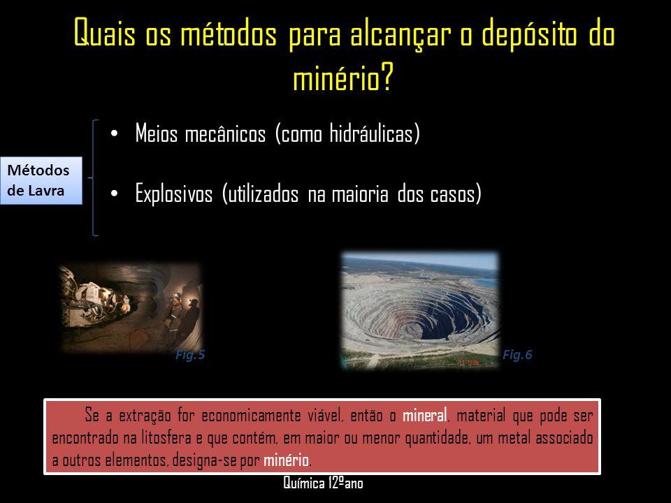 Quais os métodos para alcançar o depósito do minério