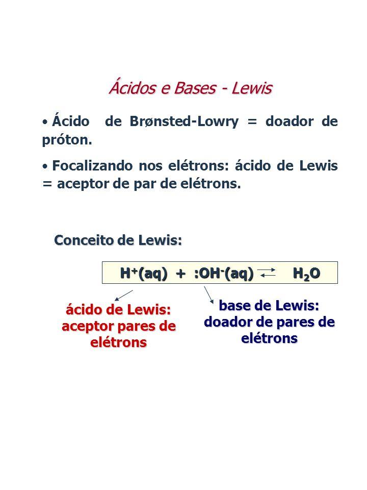 Ácidos e Bases - Lewis Ácido de Brønsted-Lowry = doador de próton.