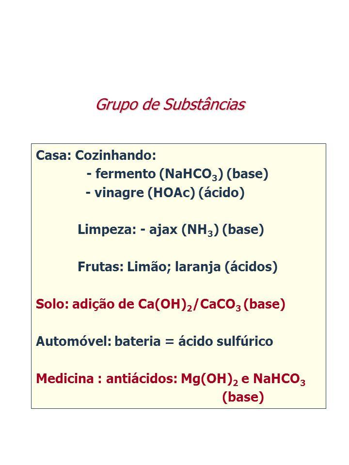 Grupo de Substâncias Casa: Cozinhando: - fermento (NaHCO3) (base)