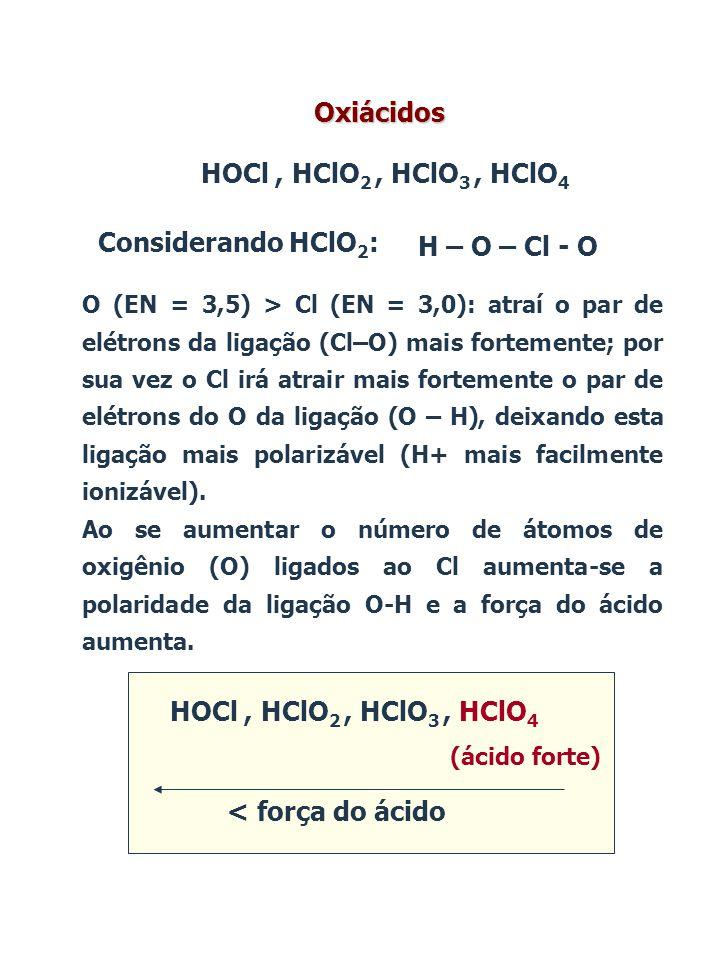 Oxiácidos HOCl , HClO2 , HClO3 , HClO4 Considerando HClO2: