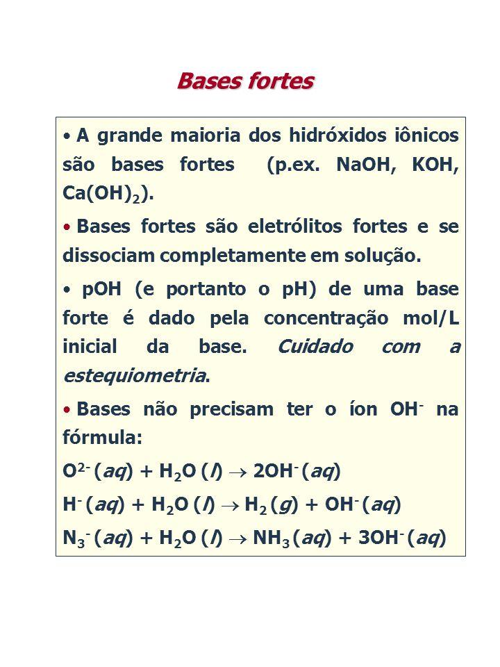Bases fortes A grande maioria dos hidróxidos iônicos são bases fortes (p.ex. NaOH, KOH, Ca(OH)2).