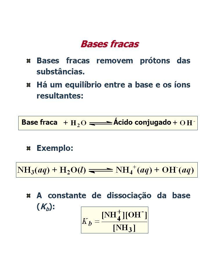 Bases fracas Bases fracas removem prótons das substâncias.