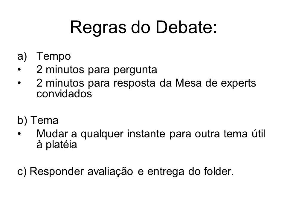 Regras do Debate: Tempo 2 minutos para pergunta