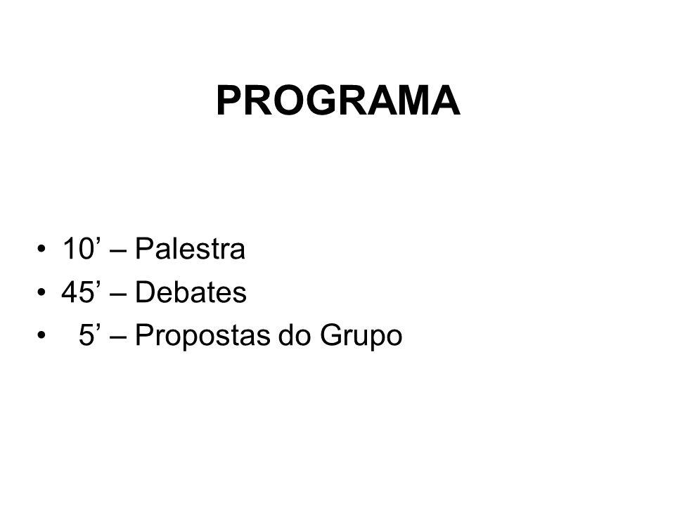PROGRAMA 10' – Palestra 45' – Debates 5' – Propostas do Grupo