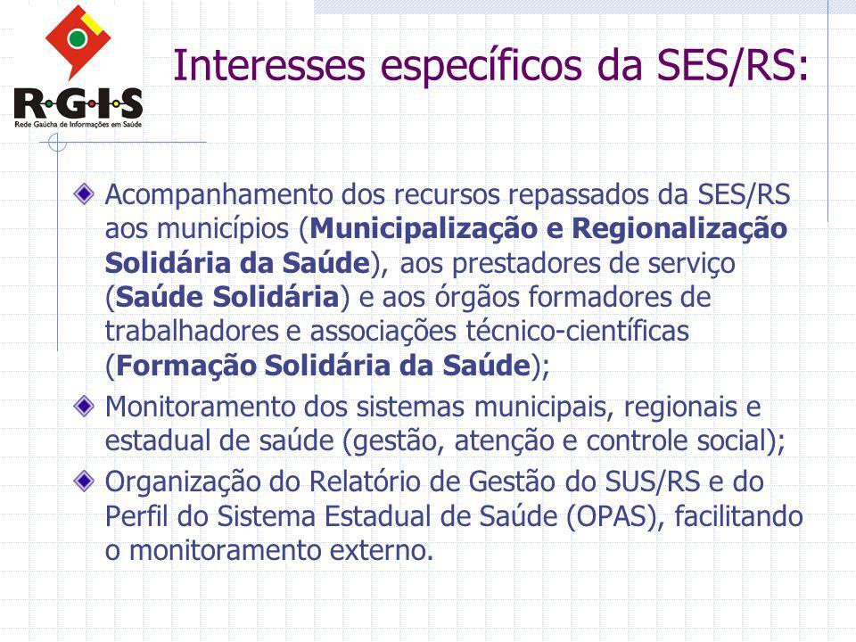 Interesses específicos da SES/RS: