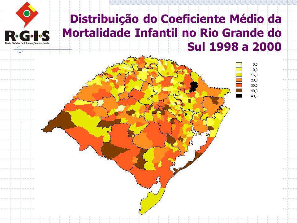 Distribuição do Coeficiente Médio da Mortalidade Infantil no Rio Grande do Sul 1998 a 2000