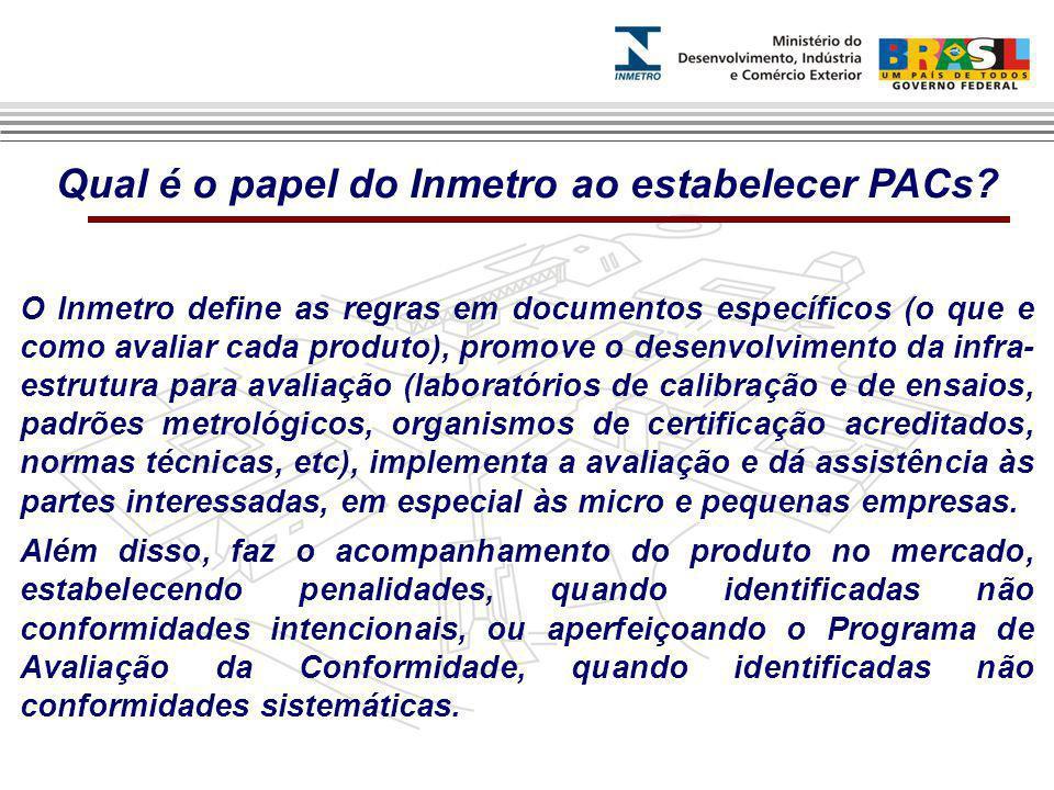 Qual é o papel do Inmetro ao estabelecer PACs