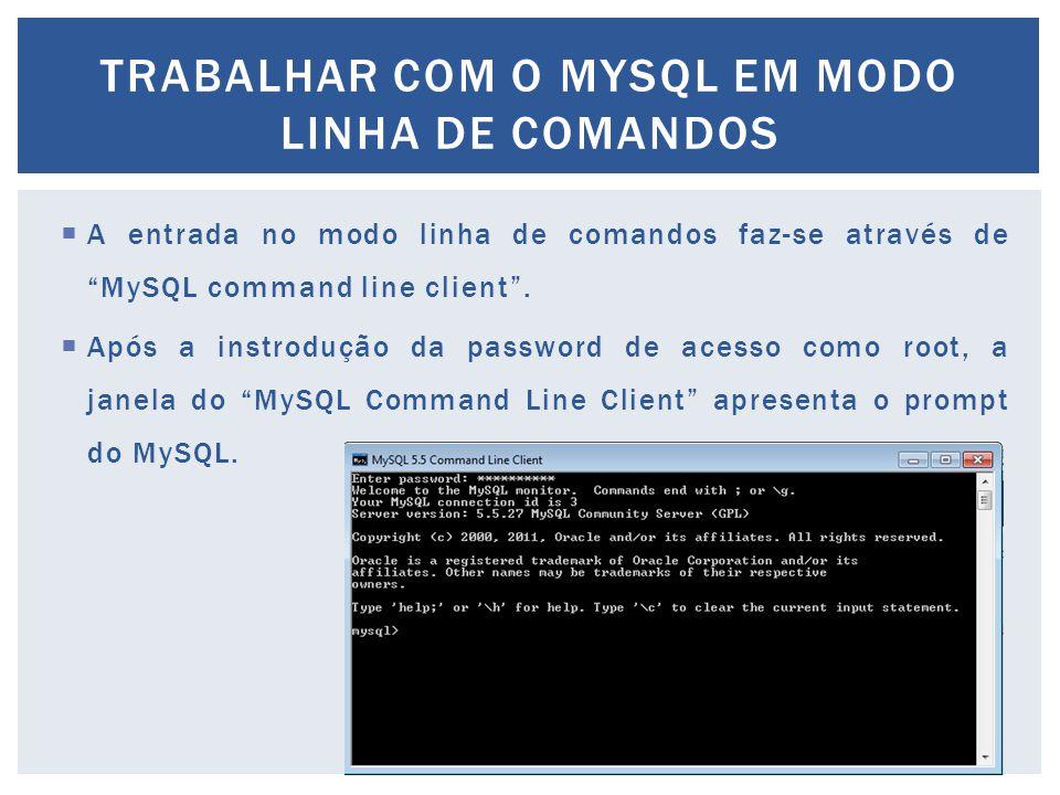 TRABALHAR COM O MYSQL EM MODO LINHA DE COMANDOS