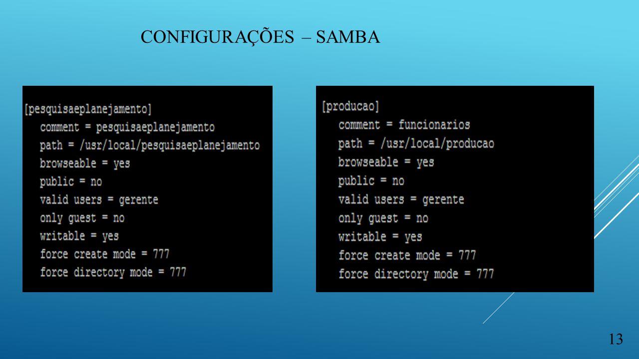 Configurações – samba