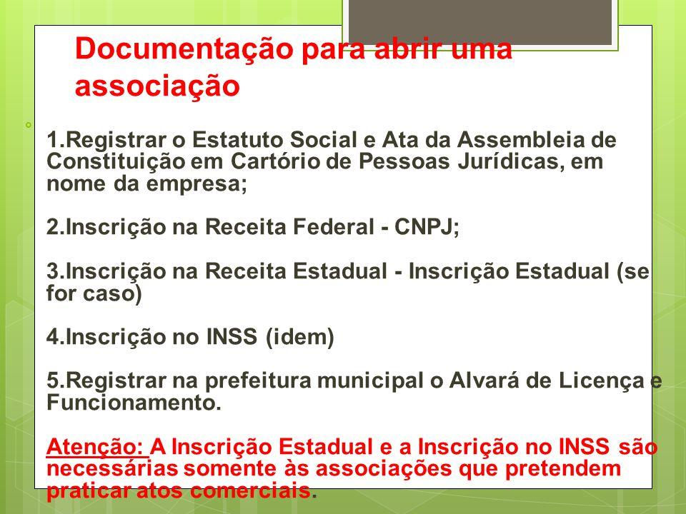 Documentação para abrir uma associação