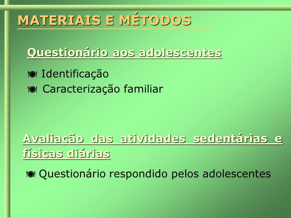MATERIAIS E MÉTODOS Questionário aos adolescentes
