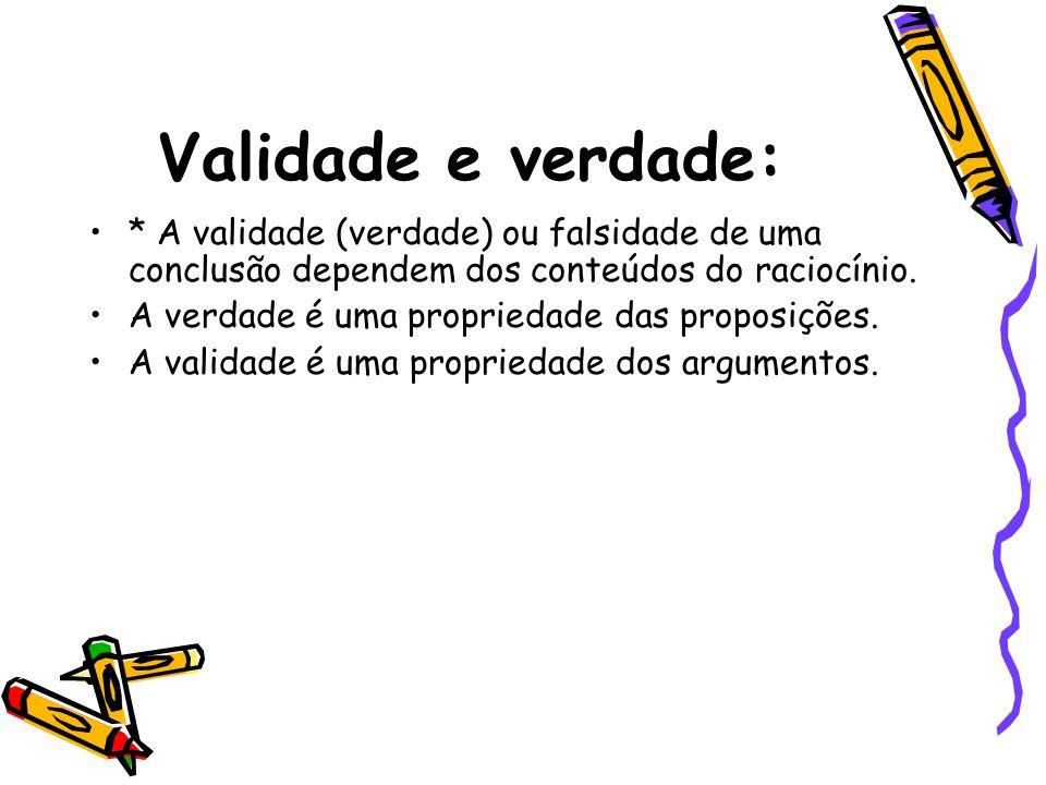 Validade e verdade: * A validade (verdade) ou falsidade de uma conclusão dependem dos conteúdos do raciocínio.